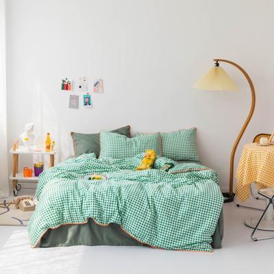 2020新款-格子嵌线款四件套影棚图 床单款三件套1.2m(4英尺)床 绿格