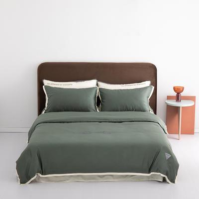 2020新款-60蓝鲸天丝纯色意大利植绒四件套床拍 床单款四件套1.8m(6英尺)床 海草绿