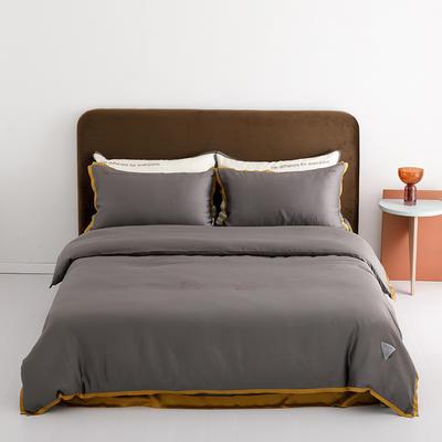 2020新款-60蓝鲸天丝纯色意大利植绒四件套床拍 床单款四件套1.8m(6英尺)床 火山灰