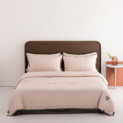 2020新款-60蓝鲸天丝纯色意大利植绒四件套床拍 床单款四件套1.8m(6英尺)床 金香槟