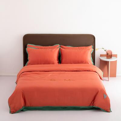 2020新款-60蓝鲸天丝纯色意大利植绒四件套床拍 床单款四件套1.8m(6英尺)床 靓丽橘