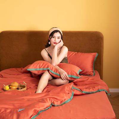 2020新款-60蓝鲸天丝纯色意大利植绒四件套模特 床单款四件套1.8m(6英尺)床 靓丽橘