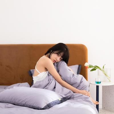 2020新款-60柔丝光织带风纯色四件套彩色时钟 床单款三件套1.2m(4英尺)床 丁香紫