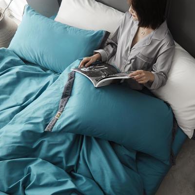 2020新款-60柔丝光织带风纯色四件套彩色时钟 床单款三件套1.2m(4英尺)床 静谧蓝