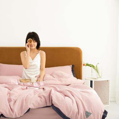 2020新款-60柔丝光织带风纯色四件套彩色时钟 床单款三件套1.2m(4英尺)床 仙女粉