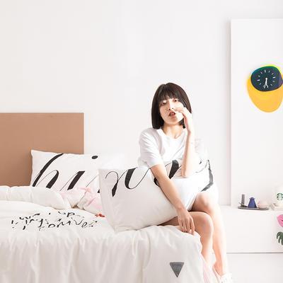 2020新款-北欧风之宅家系列四件套 床单款四件套1.8m(6英尺)床 好运 白
