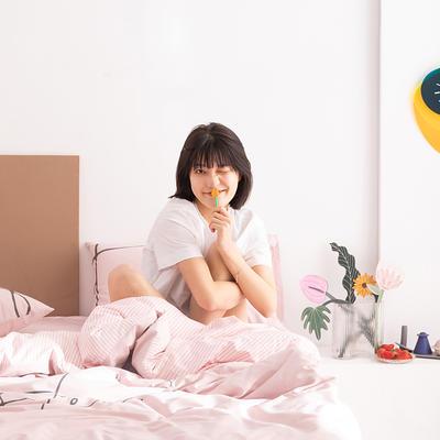2020新款-北欧风之宅家系列四件套 床单款四件套1.8m(6英尺)床 开心 粉