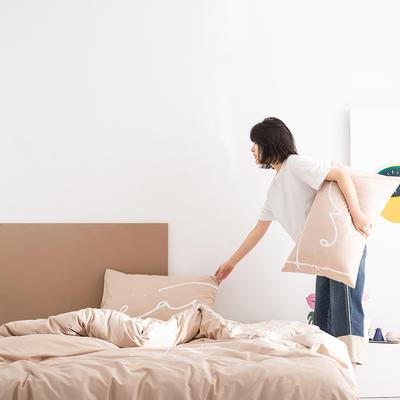 2020新款-北欧风之宅家系列四件套 床单款四件套1.8m(6英尺)床 开心 卡其