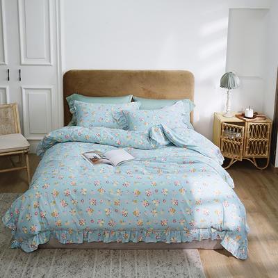 2020新款-双层纱洛丽塔四件套 1.8m床单款四件套 复古蓝花