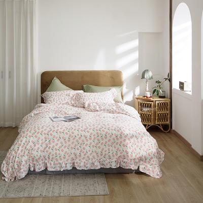 2020新款-双层纱洛丽塔四件套 1.8m床单款四件套 可爱粉花