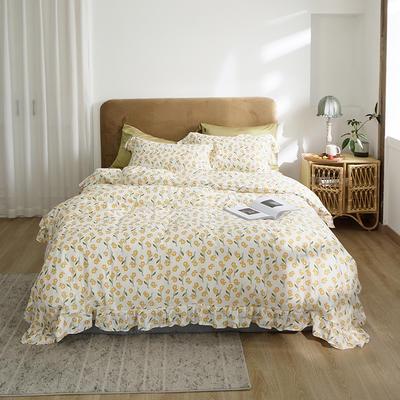 2020新款-双层纱洛丽塔四件套 1.8m床单款四件套 可爱黄花