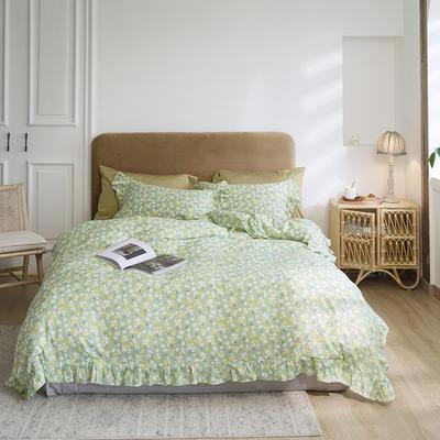 2020新款-双层纱洛丽塔四件套 1.8m床单款四件套 绿底小花花