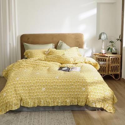2020新款-双层纱洛丽塔四件套 1.8m床单款四件套 猫咪花 黄