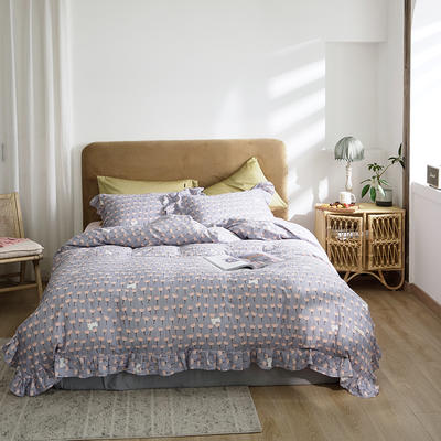 2020新款-双层纱洛丽塔四件套 1.8m床单款四件套 猫咪花 紫
