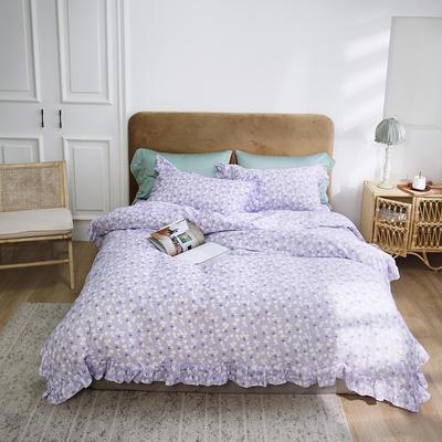 2020新款-双层纱洛丽塔四件套 1.8m床单款四件套 紫底花花
