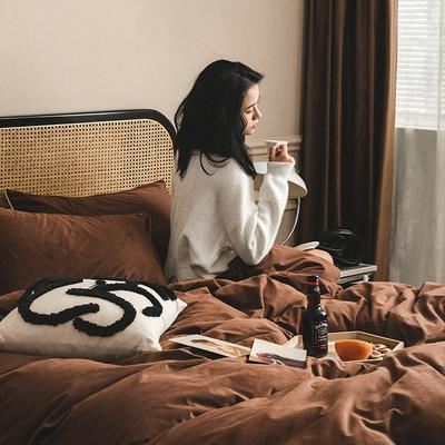2020新款-意大利绒四件套 1.8m床单款四件套 咖啡米