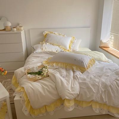 2021新款- 安娜小花花 水洗双边绣花套件可配抱枕(会员减20) 1.5m床单款四件套 仙仙花