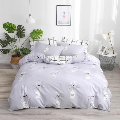 2019新款-13372纯棉四件套 三件套1.2m(4英尺)床 牛奶猫