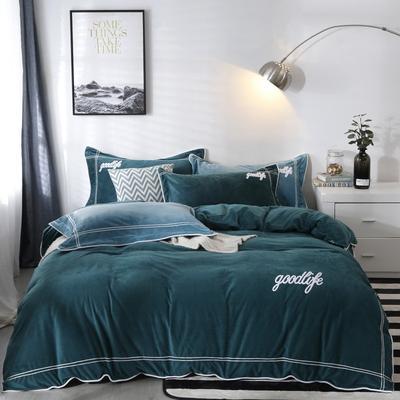 2019新款-臻棉绒四件套 床单款1.5m床-1.8m床 罗曼蒂宝石绿
