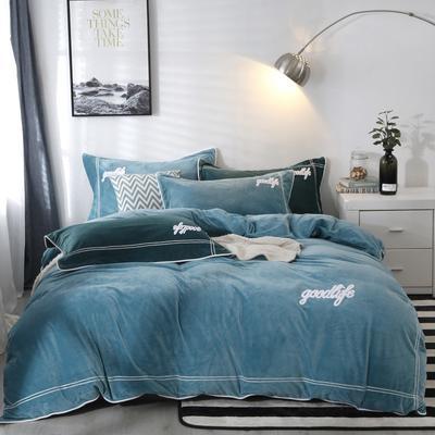 2019新款-臻棉绒四件套 床单款三件套1.2m床 罗曼蒂墨绿