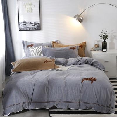 2019新款-臻棉绒四件套 床单款1.5m床-1.8m床 罗曼蒂银灰