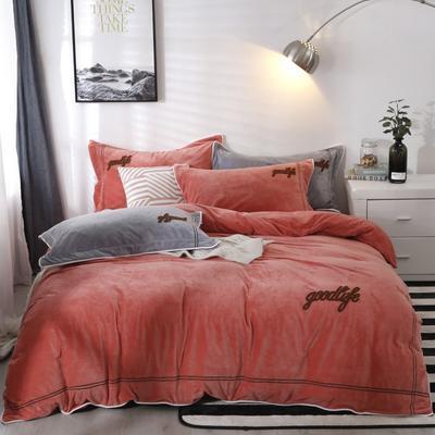2019新款-臻棉绒四件套 床单款1.5m床-1.8m床 罗曼蒂砖红