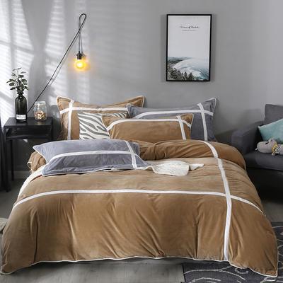 2019新款-臻棉绒四件套 床单款1.5m床-1.8m床 馨格褐色