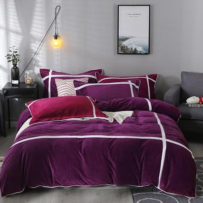 2019新款-臻棉绒四件套 床单款1.5m床-1.8m床 馨格雪紫