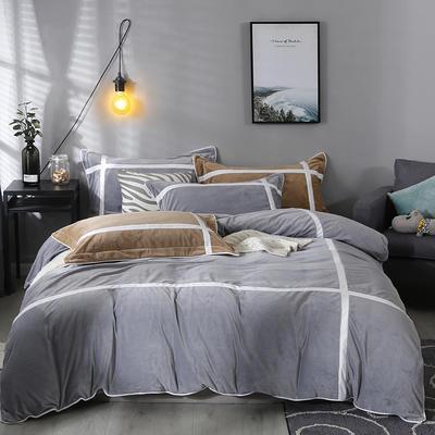 2019新款-臻棉绒四件套 床单款1.5m床-1.8m床 馨格银灰