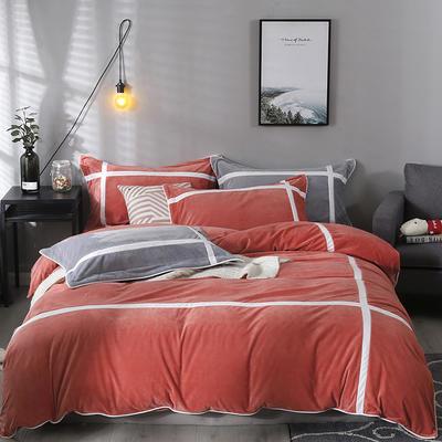 2019新款-臻棉绒四件套 床单款1.5m床-1.8m床 馨格砖红