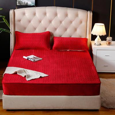 2019新款-绒乳胶床笠 120cmx200cm两件套 大红色