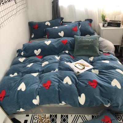 2019新款-牛奶绒四件套 床单款四件套1.8m(6英尺)床 初心