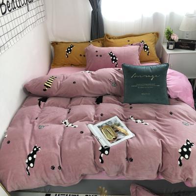 2019新款-牛奶绒四件套 床单款四件套1.8m(6英尺)床 猫咪粉