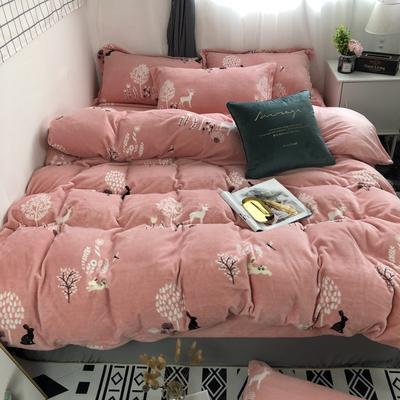 2019新款-牛奶绒四件套 床单款三件套1.2m(4英尺)床 穆夏粉