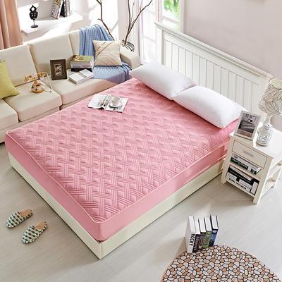 纯色全棉夹棉床笠 120cmx200cm 粉色床笠