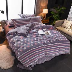 2018新款5D 雕花绒四件套 2.0m(6.6英尺)床 魅力星光-紫