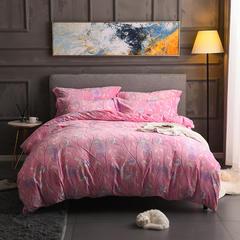 2018新款5D雕花绒四件套-醉金枝-粉色 1.5m(5英尺)床 醉金枝-粉色