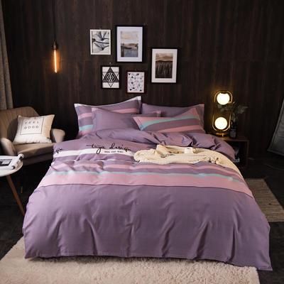 2020新品全棉磨毛四件套 1.5m床单款 甜蜜回忆(紫)