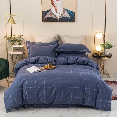 2020新品全棉磨毛四件套 1.8m床单款 乐享生活-蓝