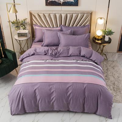 2020新品全棉磨毛四件套 1.35m/1.5m床单款 B甜蜜回忆(紫)