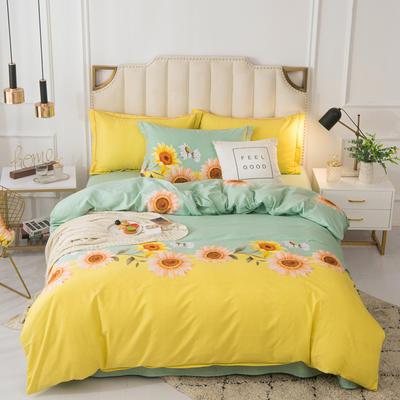 2020新品全棉磨毛四件套 1.2m床单款 向阳花开-绿