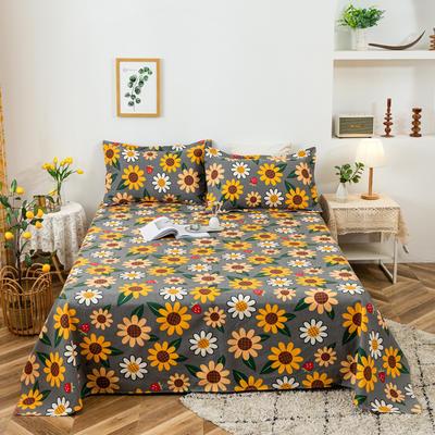 2021新品老粗布床单三件套 200x235cm单床单 向阳花开-灰