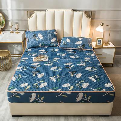 2021新款凉感丝乳胶软席床笠款三件套 1.5m床笠款三件套 彼岸花