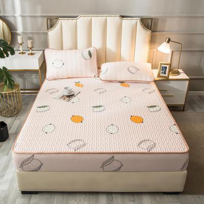 2021新款凉感丝乳胶软席床笠款三件套 1.5m床笠款三件套 柠檬-粉