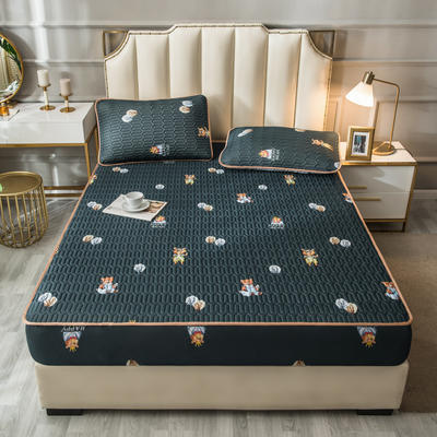 2021新款凉感丝乳胶软席床笠款三件套 1.5m床笠款三件套 森林派对-灰