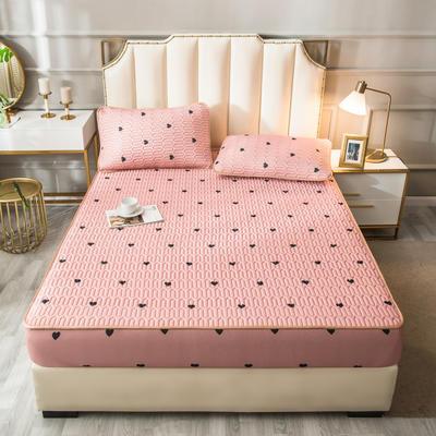 2021新款凉感丝乳胶软席床笠款三件套 1.5m床笠款三件套 心相印-粉