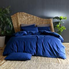 纯色全棉磨毛四件套 标准1.5m-1.8m床 藏青