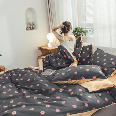 2019新款-棉加绒系列套件 1.2m-1.35m床(床单款三件套) 草莓烟然