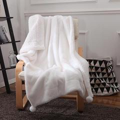 仿兔毛+羊羔绒双拼毛毯 100*150cm 白色
