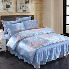 贡缎提花床裙四件套 1.8米床 夹棉 花舞本色蓝